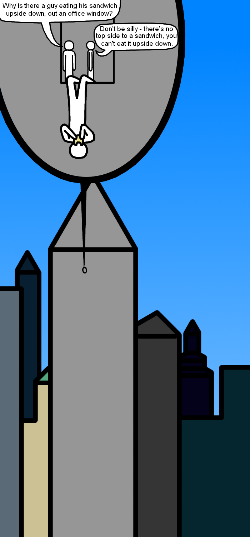 Anthropo-dress-up week - upside down skyscraper-topping sandwich eater
